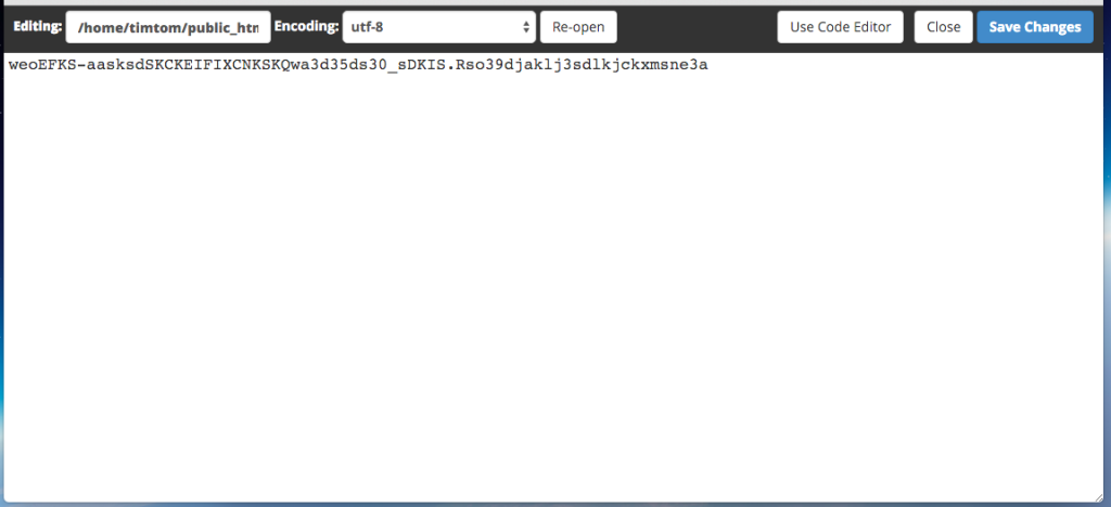 screenshot of cpanel file editor