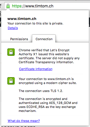 Screenshot of the Chrome navigator security message, confirming timtom.ch is secure.